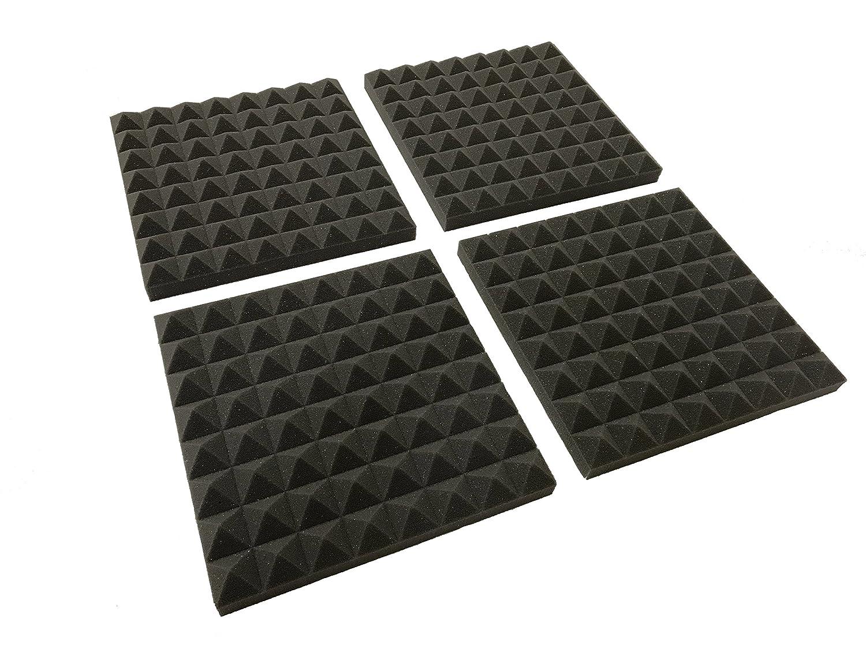 Advanced Acoustics–Lote de 12(305mm)–Tratamiento de espuma acústica Studio azulejos de 24unidades, 0,60NRC Covering 24sqft (2.23m2) PYR12