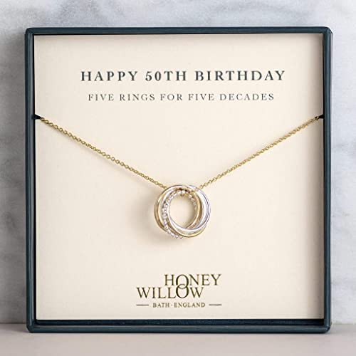 5 Decade Necklace 50th Birthday Gift for Wife 50th Birthday Jewelry