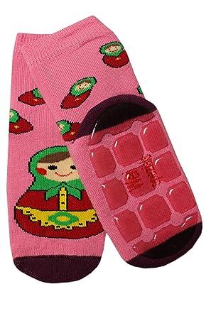 979eb574f590c Weri Spezials Unisexe Bebes ABS Eponge Matriochka Pantoufle Chaussons  Chaussettes Antiderapants 6-9 Mois (