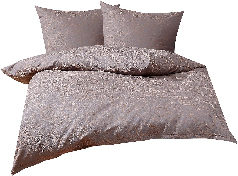 Mako Satin Damast Paisley Bettwäsche Garnitur Davos aus 100% Baumwolle - Viele Farben und Größen (240 x 220 + 2 x 80 x 80, Gold Braun - Grau)