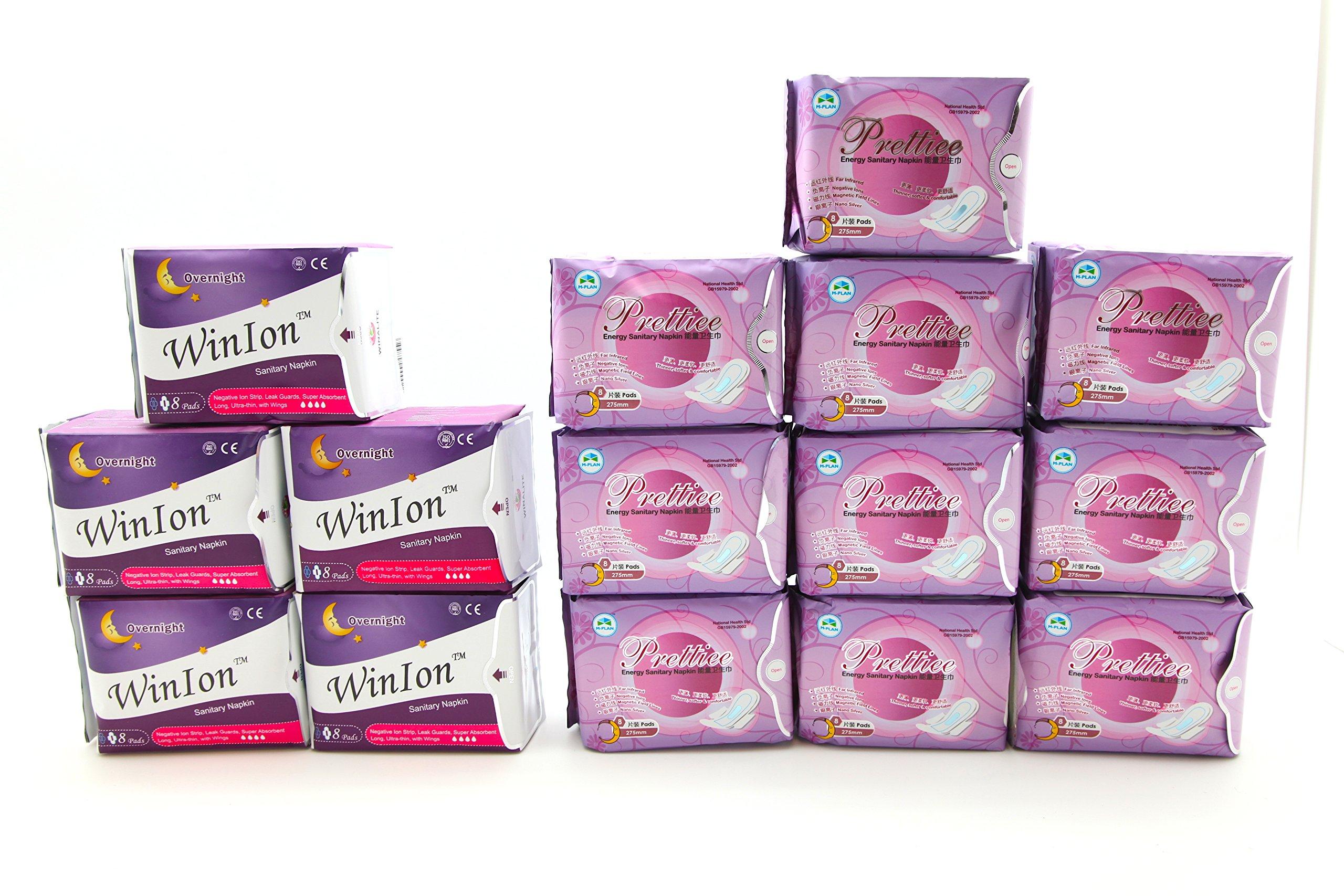 5 packs Winion Night + 10 packs Prettiee Energy Sanitary Night Napkin