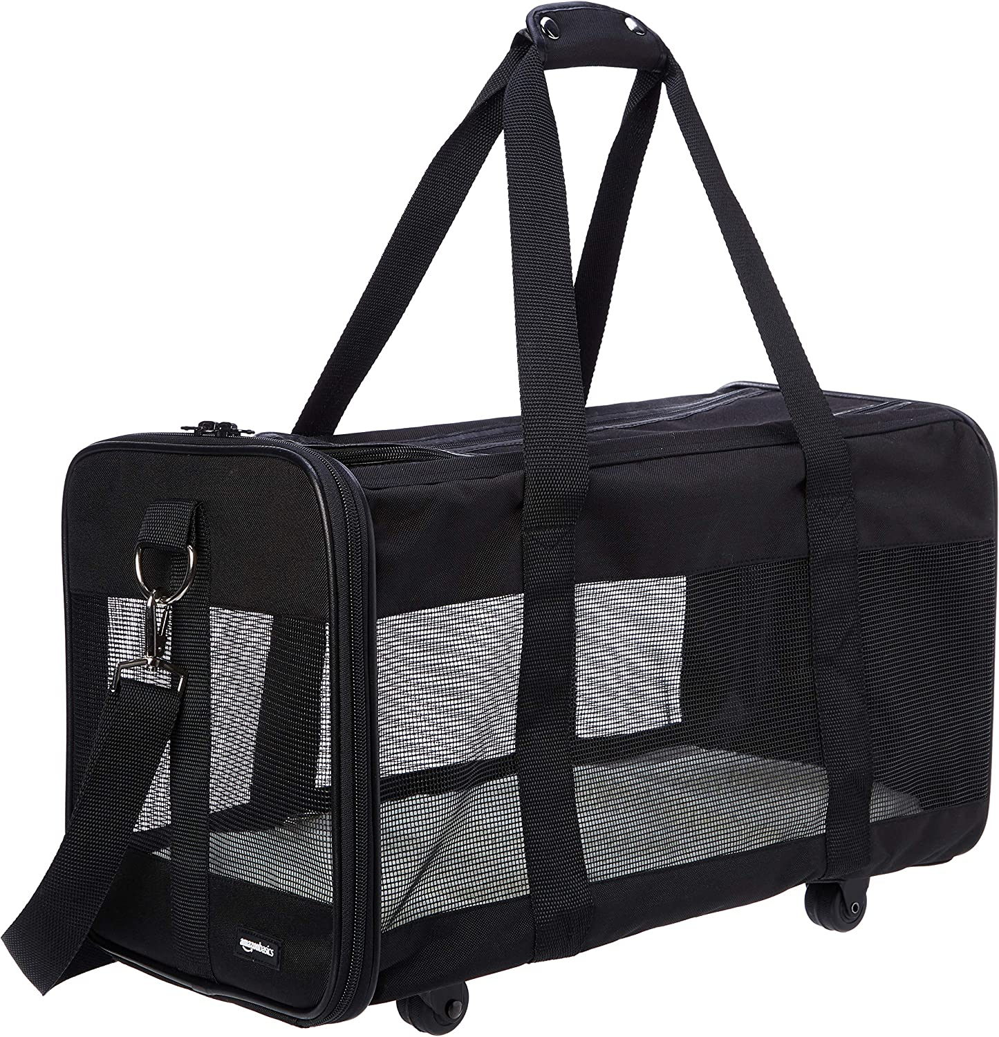 AmazonBasics Soft-Sided Mesh Pet Travel Carrier with Wheels