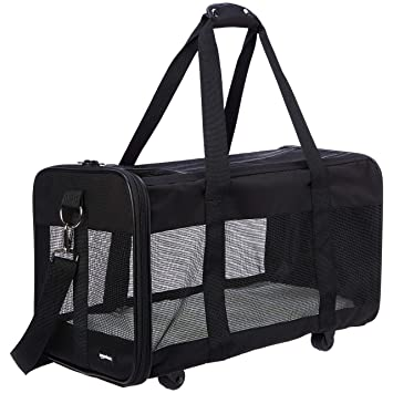 AmazonBasics - Transportín para mascotas, con laterales blandos y ruedas, Grande: Amazon.es: Productos para mascotas