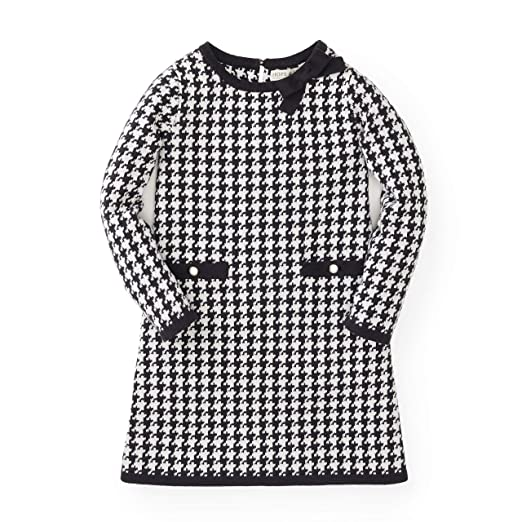 Hope & Henry Girls' Black and White Houndstooth Sweater Dress Made with Organic Cotton