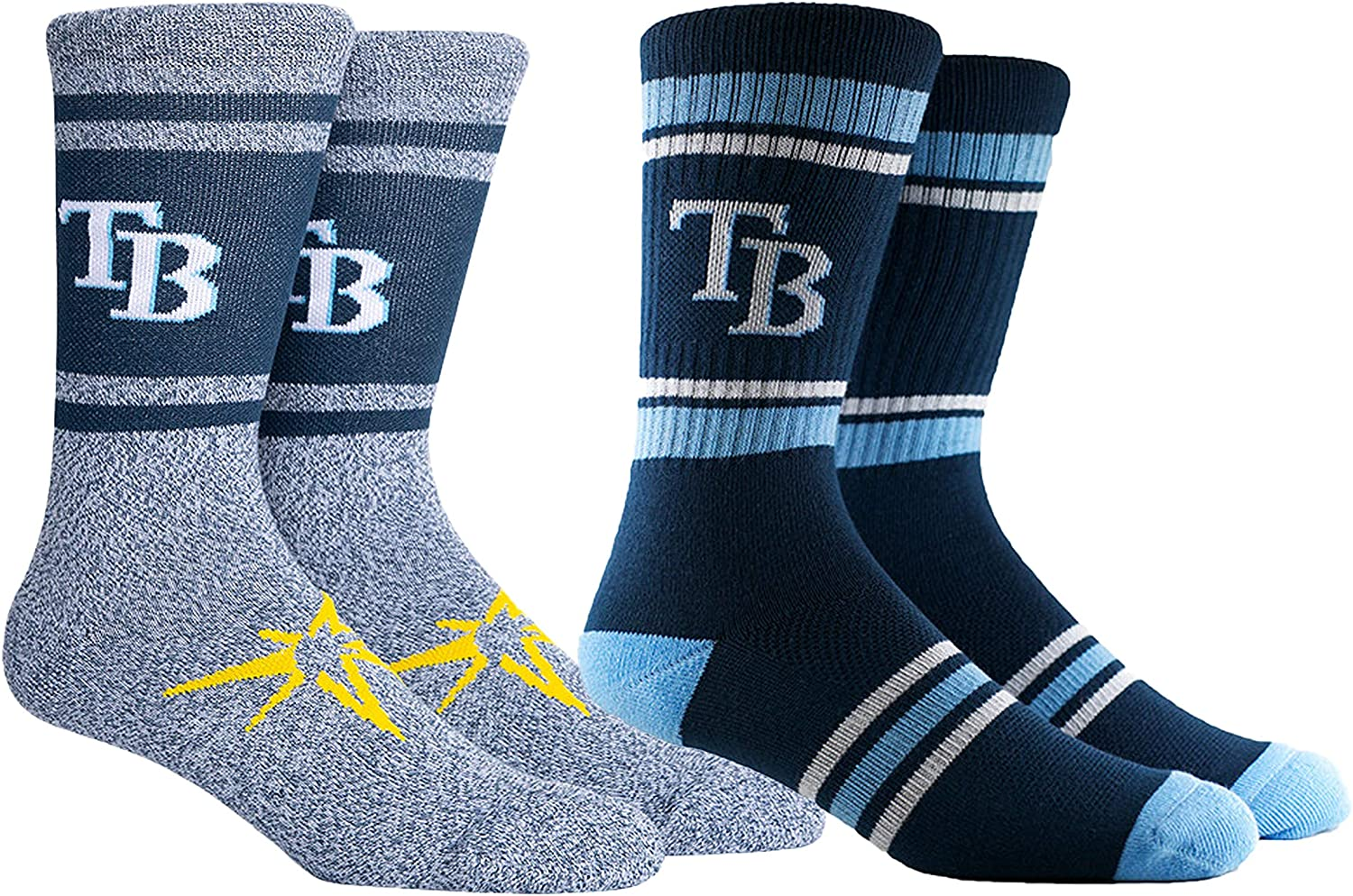 PKWY Unisex 2-Pack MLB Tampa Bay Rays Mixed Crew Socks