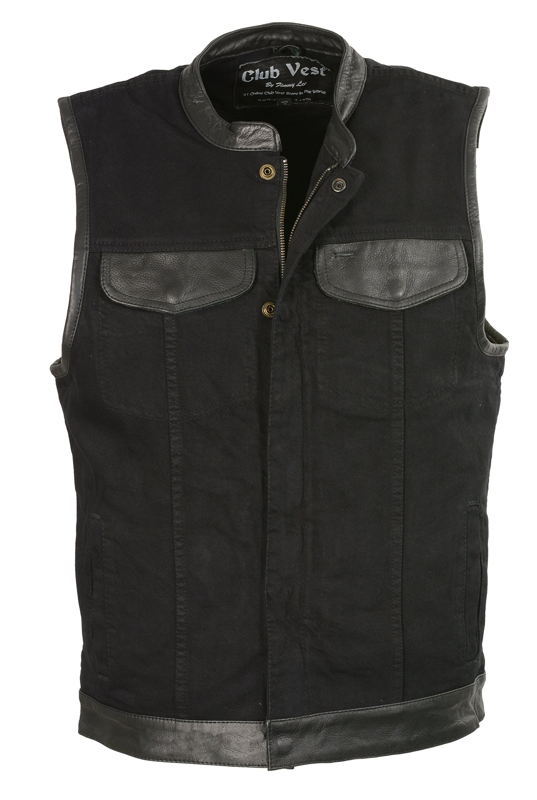 Club Vest Men's Denim Club Vest w/ Leather Trim & Hidden Zipper (Black, 3X), 1 Pack
