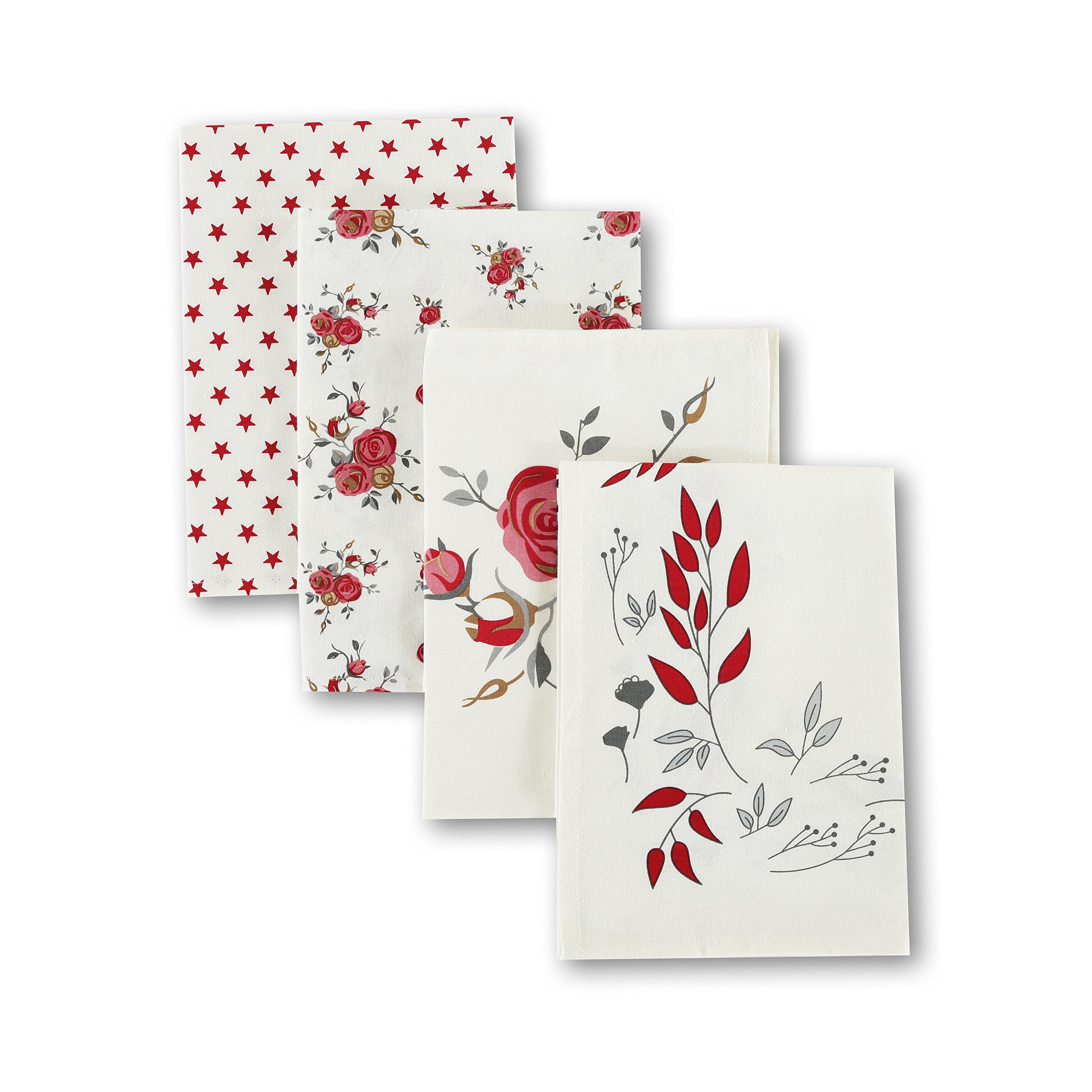 Family Love Printed 100% Cotton Flour Sack Tea Towel 4PC Set Coffee Towel 19.75'' x 27.5'' Kitchen Towel