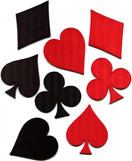 Lot of 5 Red Spade Cards Small Embroidered Iron on Patches Free Postage