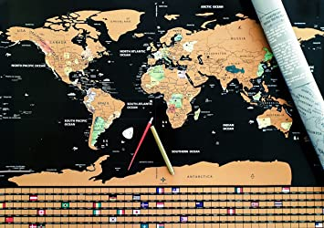 Amazon ultimate world map tracker poster 2018 edition bonus ultimate world map tracker poster 2018 edition bonus erasable gold marker scratch sciox Gallery