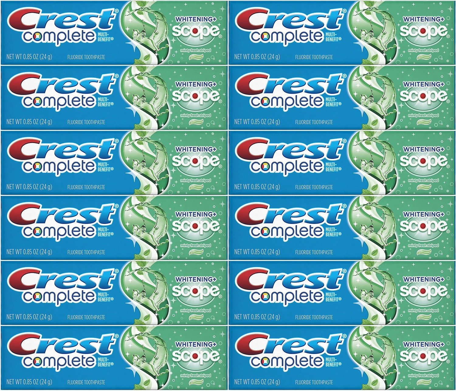 Crest Complete Whitening Plus Scope Minty Fresh Toothpaste, Travel Size, TSA Approved, 0.85 Ounce (Pack of 12) by Crest (Image #1)