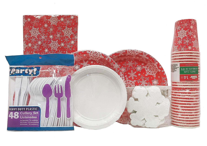 Copos de nieve rojo blanco cena platos de papel BUNDLE- 36 ...