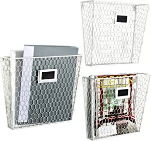 Wall Mounted White Metal Chicken Wire Home Office Mail Sorter/Magazine Holder Rack w/Chalkboard Labels, Set of 3