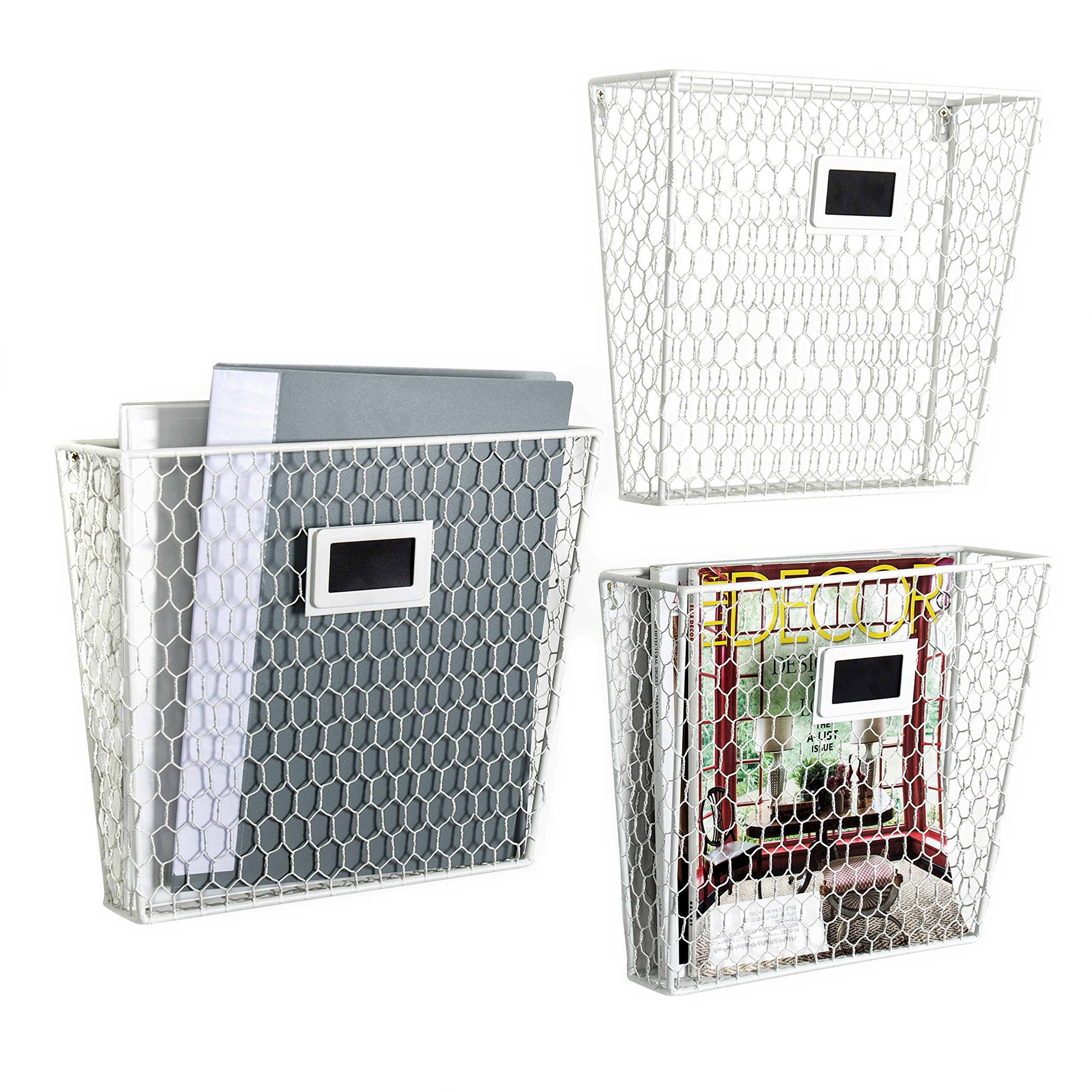 Wall Mounted White Metal Chicken Wire Mail Sorter/Magazine Rack w/Chalkboard Labels, Set of 3