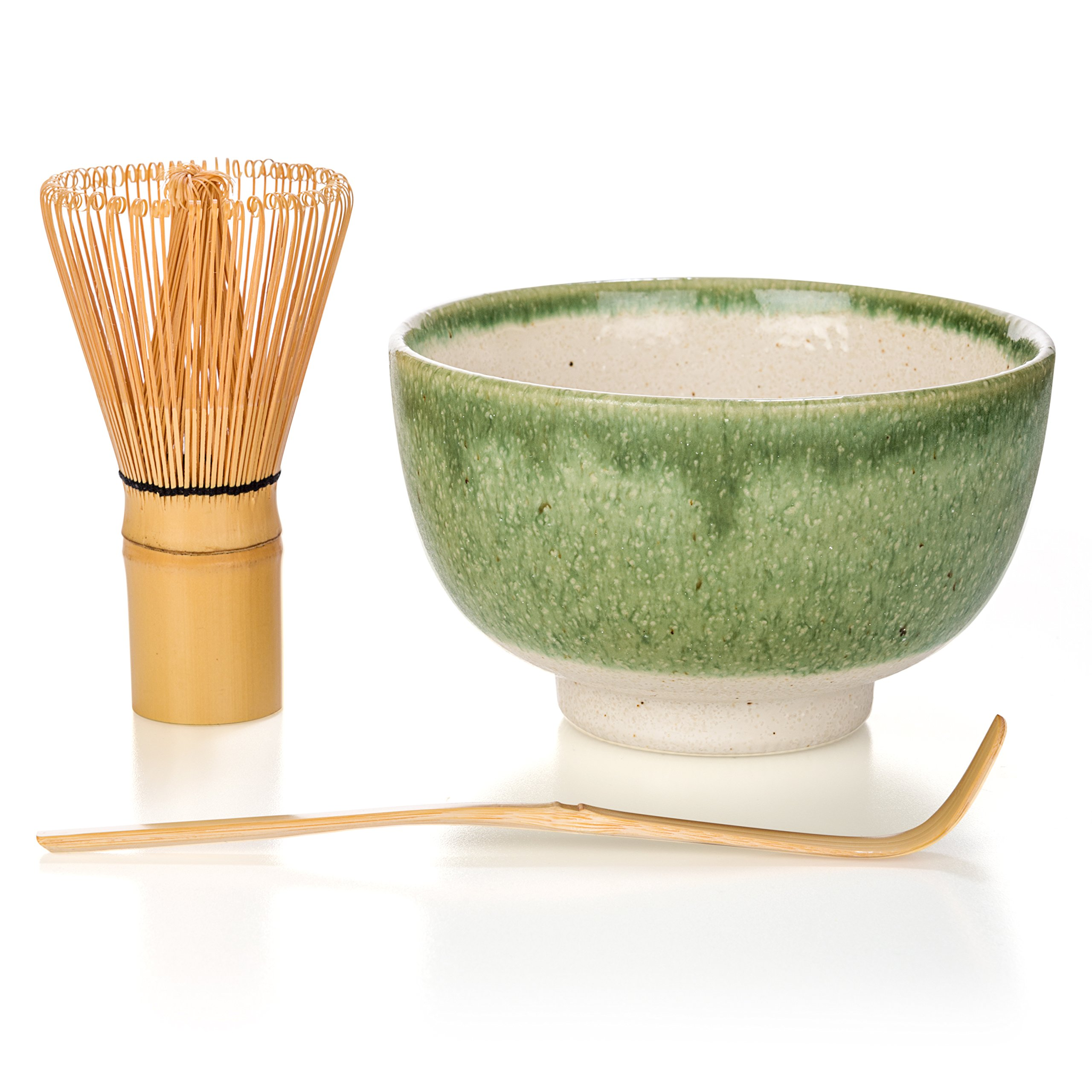 Tealyra - Matcha - Start Up Kit - 3 items - Matcha Green Tea Gift Set - Japanese Made Green Bowl - Bamboo Whisk and Scoop - Gift Box