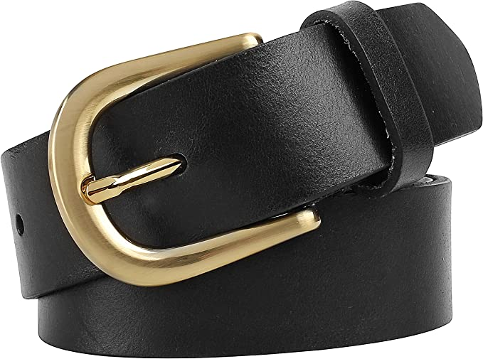 Men/'s Steer Hide Leather 38MM Casual Belt With Antique Brass Buckle Made In USA