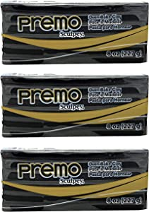 Premo Sculpey Polymer Black Clay - Oven-Baked Clay 8 Ounce (Pack of 3)
