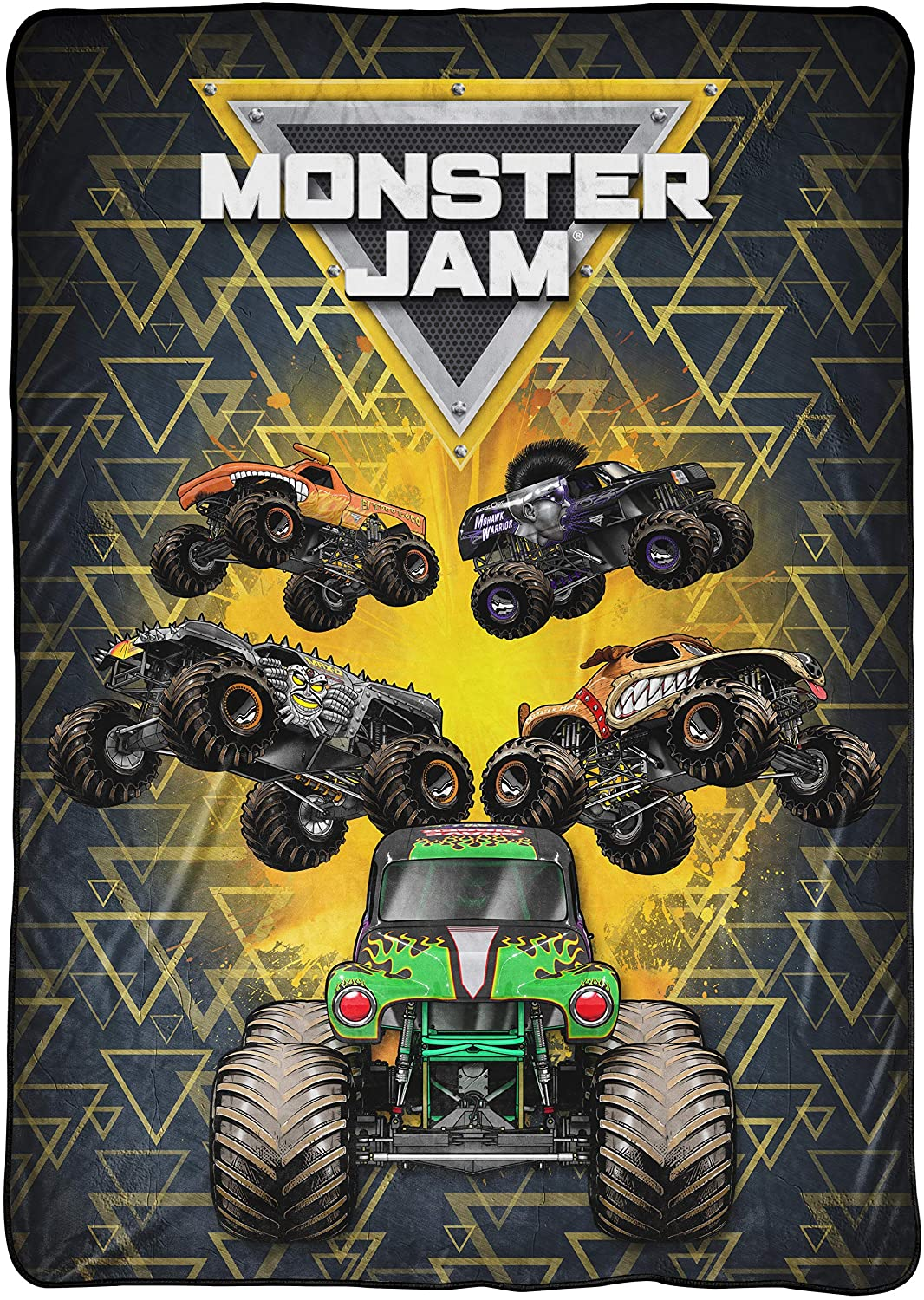 Monster Jam MJ Life Blanket - Measures 62 x 90 inches, Kids Bedding Features Grave Digger - Fade Resistant Super Soft Fleece (Official Monster Jam Product)