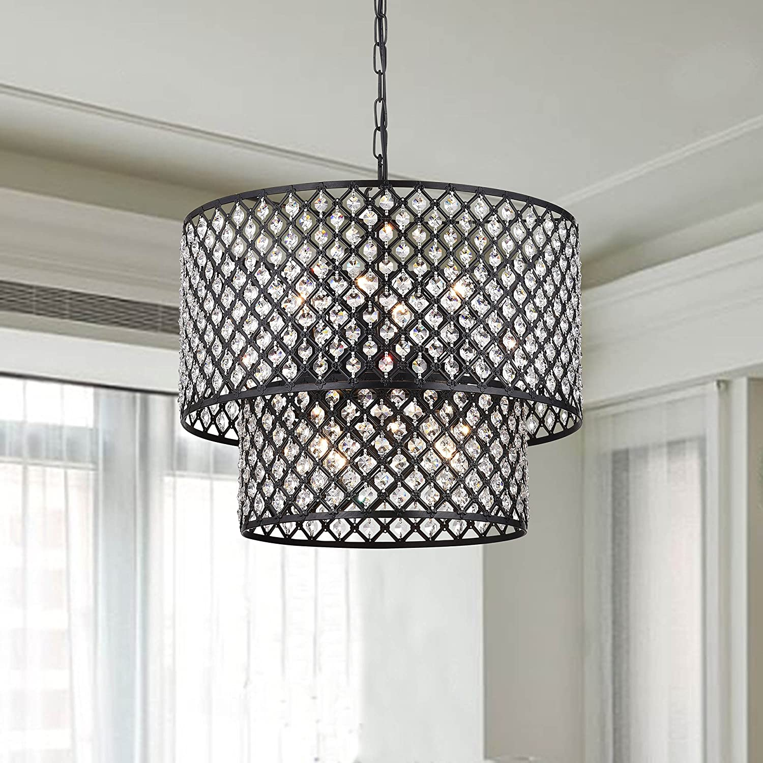 Antique black 8 light double round crystal chandelier amazon aloadofball Gallery
