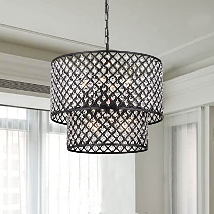 Antique black 8 light double round crystal chandelier amazon antique black 8 light double round crystal chandelier aloadofball Gallery