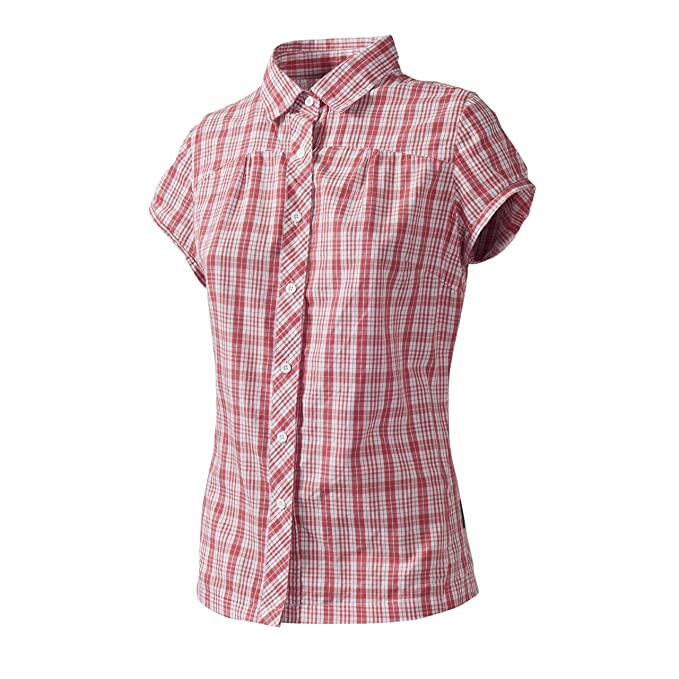 Trespass Womens/Ladies brae Short Sleeve Check Blouse (XXS) (Coral Blush Check