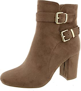 Women's Strappy Buckle Chunky Stacked Wrapped Block Heel Ankle Bootie