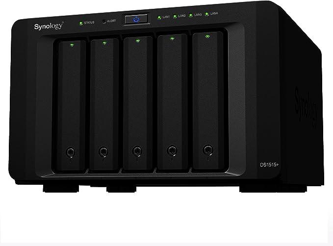 TALLA 5 Bay. Synology Serie Plus DS1515+ - Dispositivo de Almacenamiento en Red (2 GB Ampliable hasta 6 GB, 4 Puertos USAB 3.0, 2 Puertos eSATA, 4 Puertos LAN Gigabit), Negro