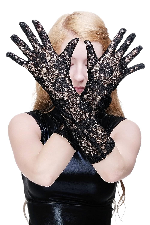 Handschuhe Handstulpen Fingerlos Spitze Damen Mädchen Braut Party Gothic Schwarz