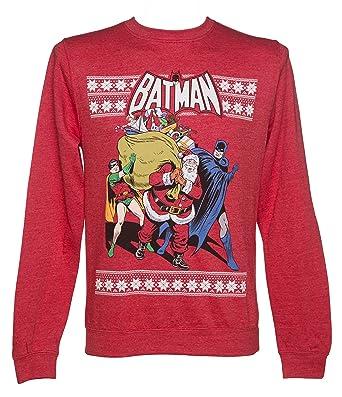 unisex red marl dc comics batman and robin christmas sweater - Amazon Christmas Sweater