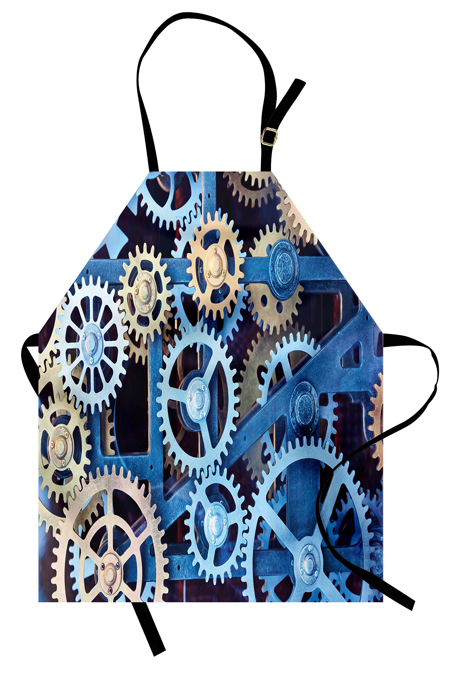 Ambesonne Clock Apron, Technology Clock Gears Steel Cogwheels Pattern Mechanical Theme Design Print, Unisex Kitchen Bib Apron with Adjustable Neck for Cooking Baking Gardening, Blue and Sand Brown