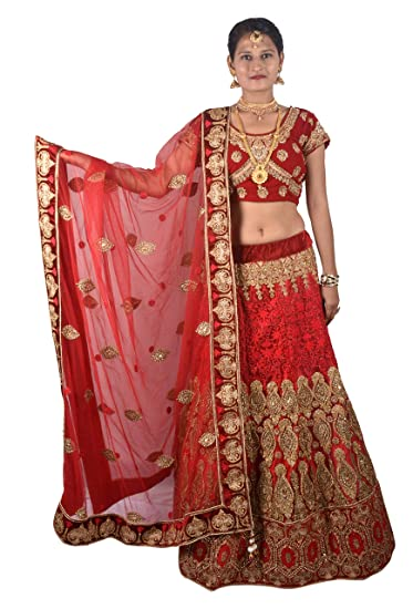 346572f01c0 SKDHS Women s Net Unstitched Lehenga Choli Material (Red and Gold)   Amazon.in  Clothing   Accessories