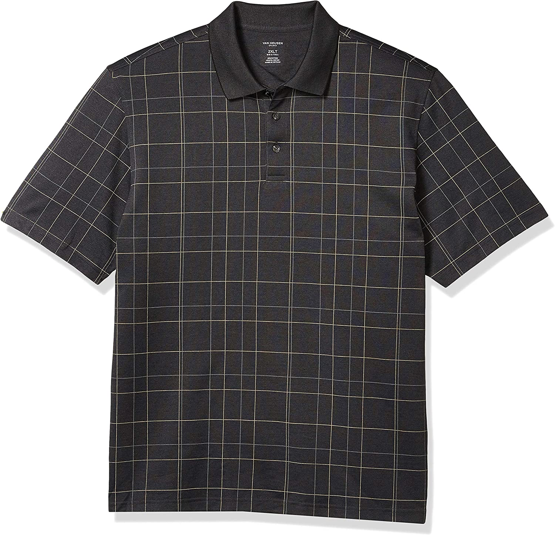 Van Heusen Mens Big and Tall Flex Short Sleeve Stretch Windowpane Polo Shirt