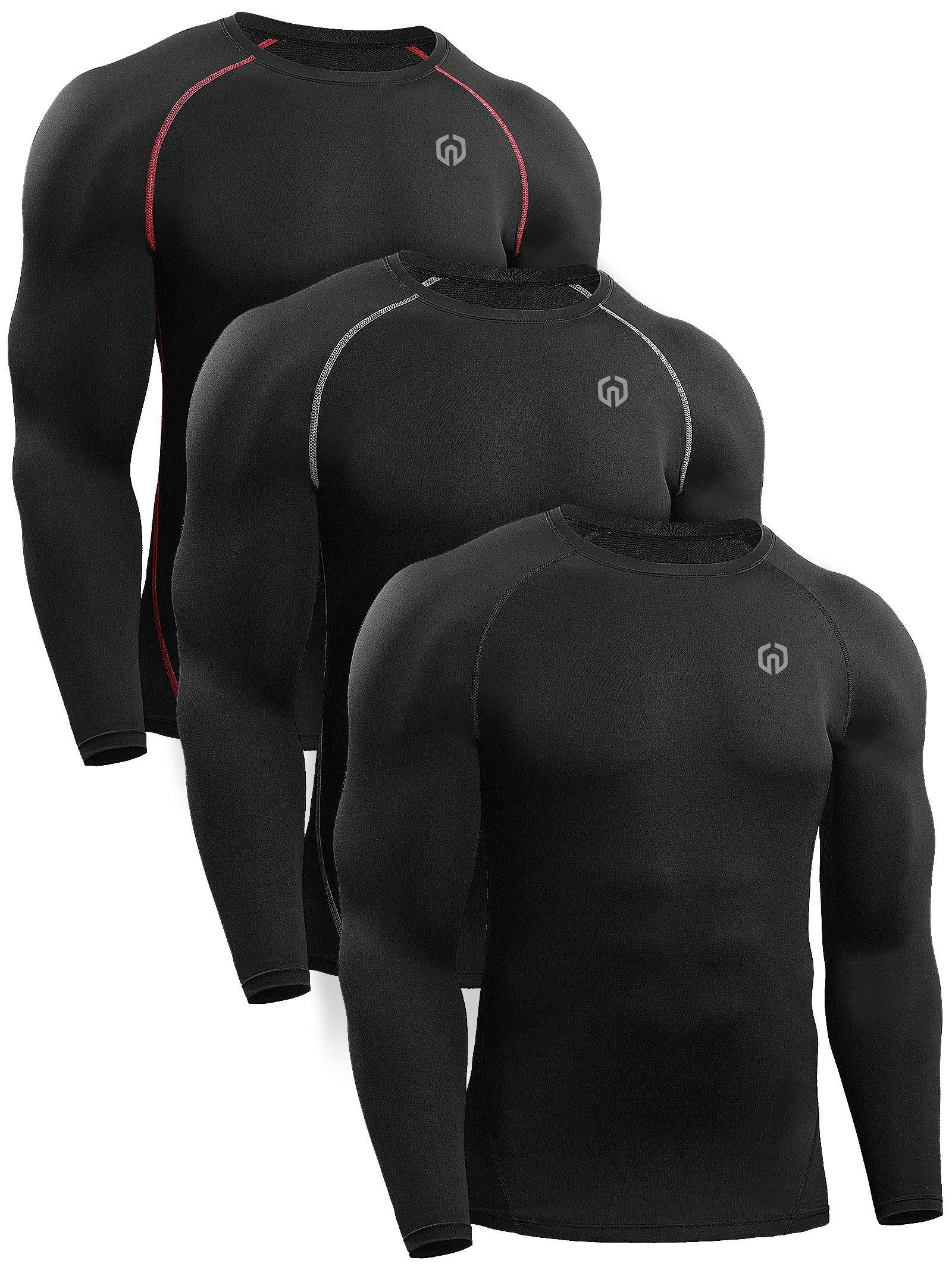 Neleus Men's 3 Pack Workout Compression Long Sleeve Shirts,5035,Black,Black(Grey),Black(Red),US S,EU M