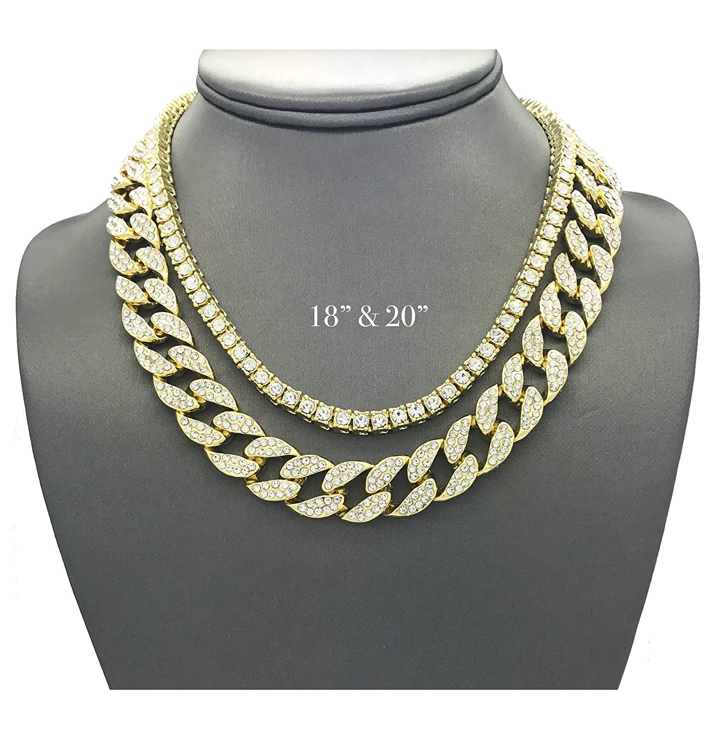 01b95ef19 Shiny Jewelers USA Mens Iced Out Hip Hop Gold tone CZ Miami Cuban Link Chain  Choker Necklace (1 Row CZ & CZ Cuban 18