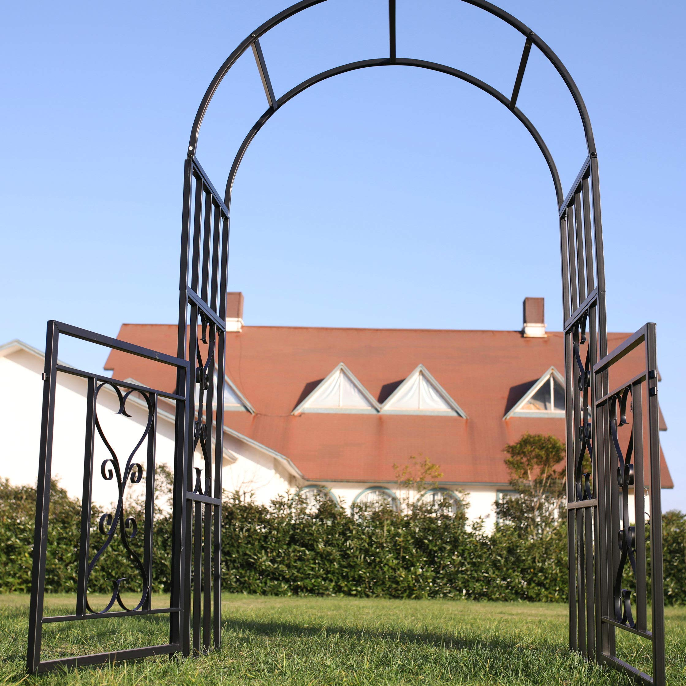 1. GO Steel Garden Arch with Gate, 6'7'' High x 3'7'' Wide, Garden Arbor for Various Climbing Plant, Outdoor Garden Lawn Backyard by 1. GO (Image #5)