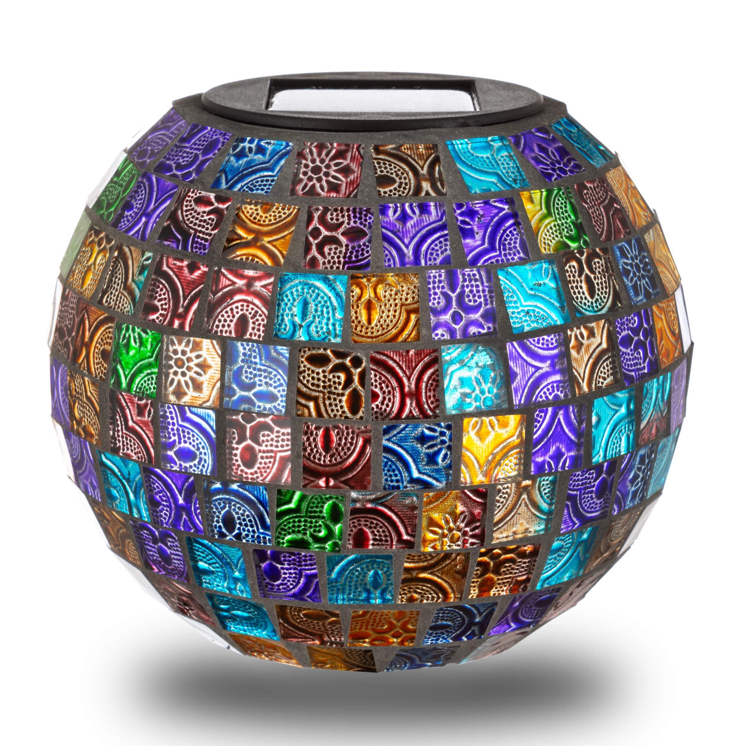 Large Mosaic Solar Glass Ball   LED Garden Decor Light   Patio, Porch, Walkway, Yard Decoration Table Lamp   Great Outdoor Christmas Gift (Disco)