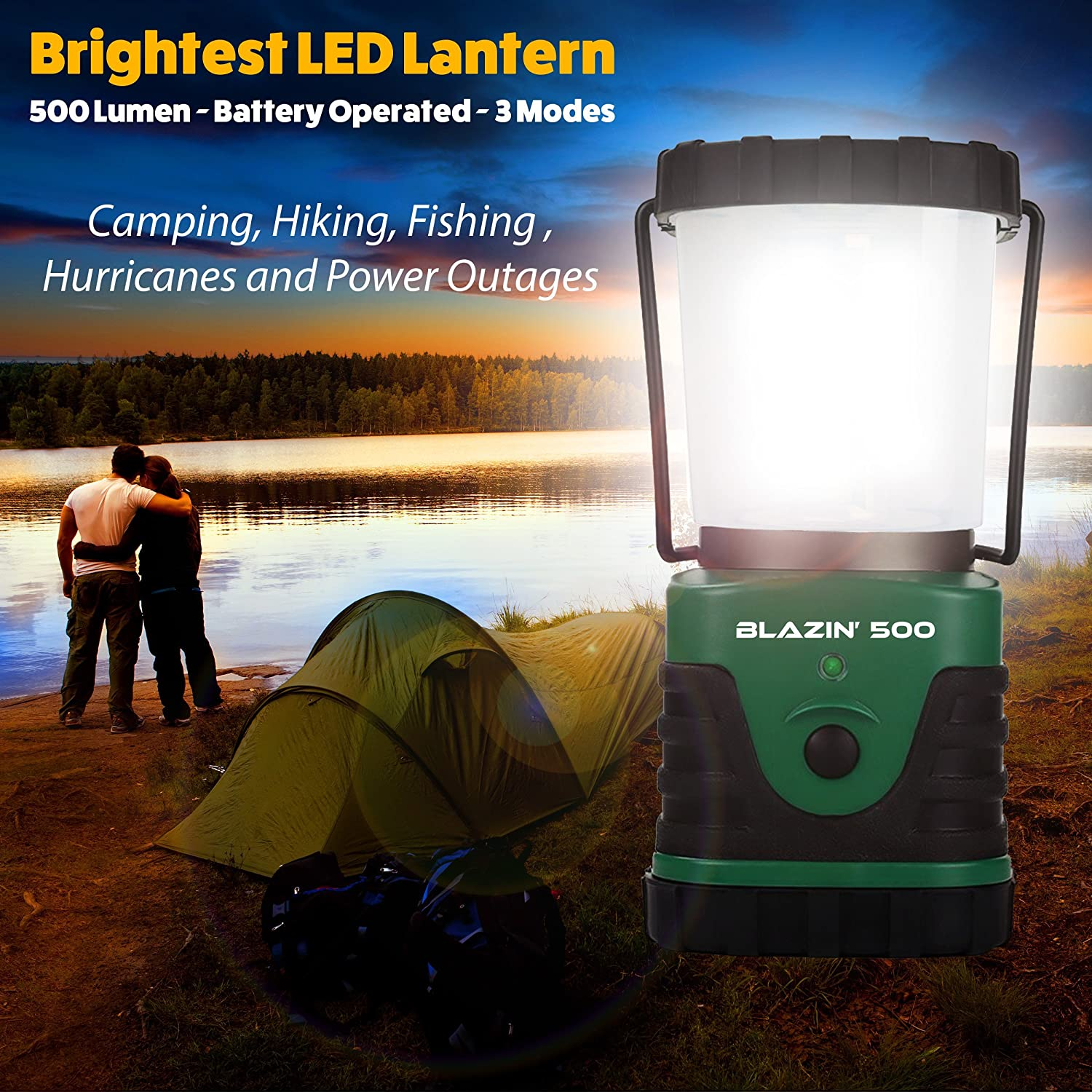 Brightest LED Camping & Hurricane Lantern - Battery Operated - 500 ...