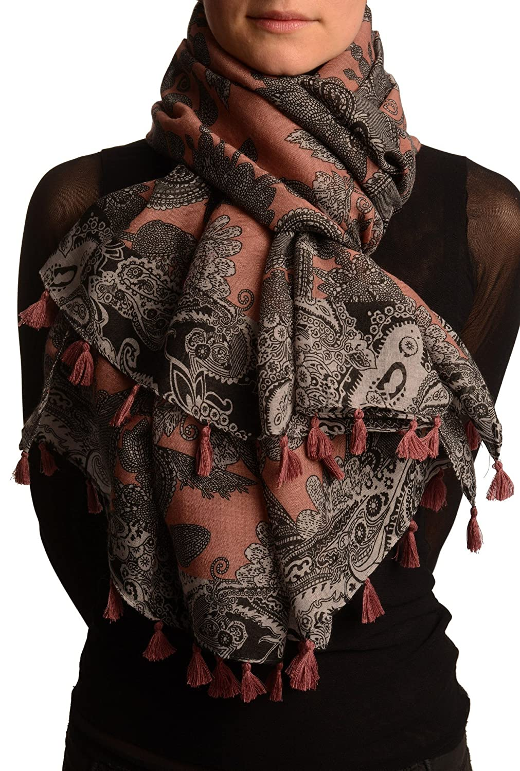 Grey & Black Paisley On Pink Scarf With Tassels - Scarf