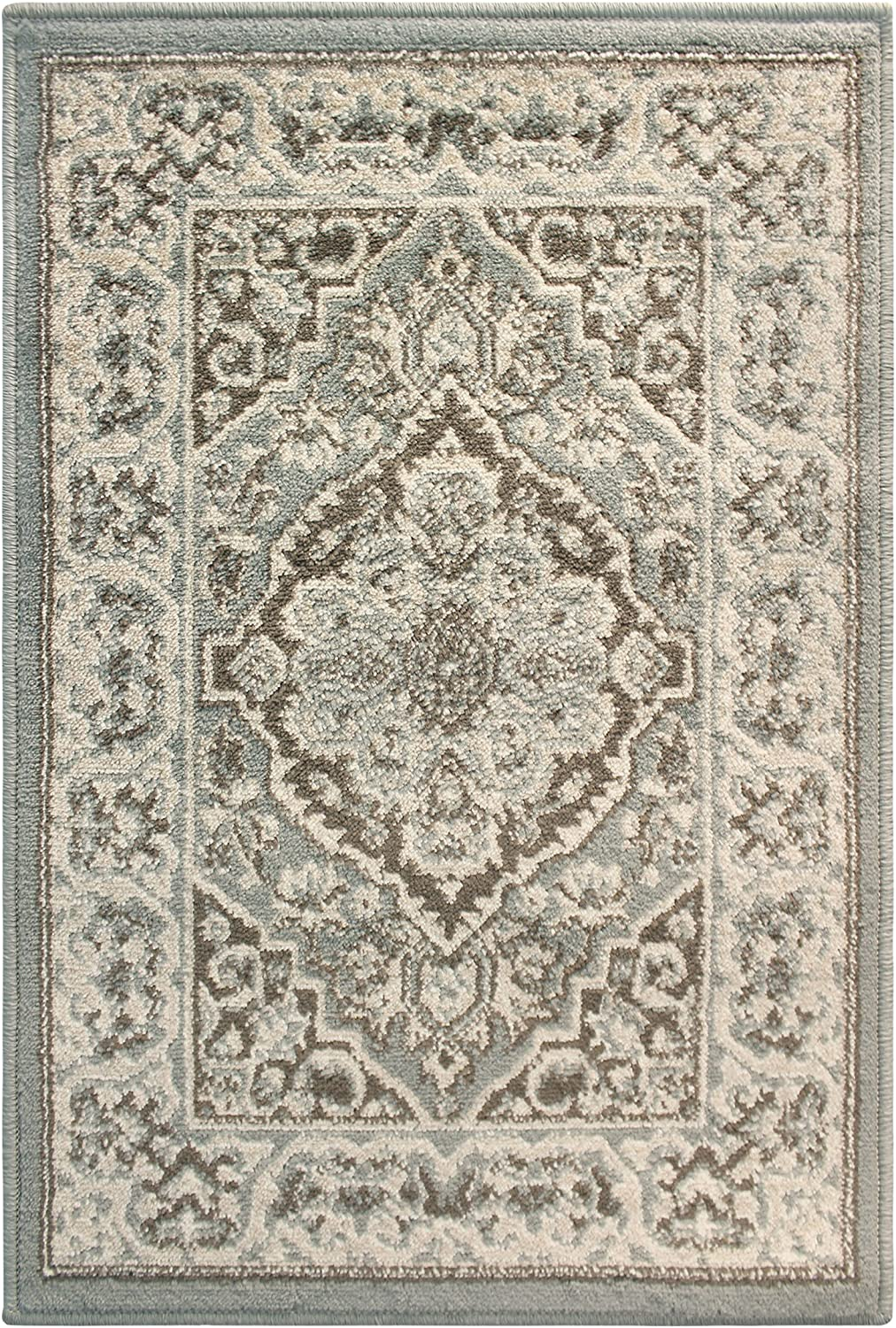 SUPERIOR Glendale Collection Area Rug - Traditional Brown Oriental Rug, 8 mm Pile, Jute Backing Floor Rug, Grey, 3' x 5'