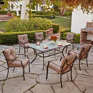 Hanover PALMBAYDN7PC-TAN Palm Bay 7-Piece Set with Six Cushioned Dining Chairs and Tempered Glass Table Outdoor Furniture, Tan