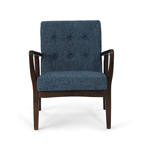 Christopher Knight Home 305999 Conrad Fabric Mid-Century Birch Club Chair, Indigo Weave and Dark Espresso