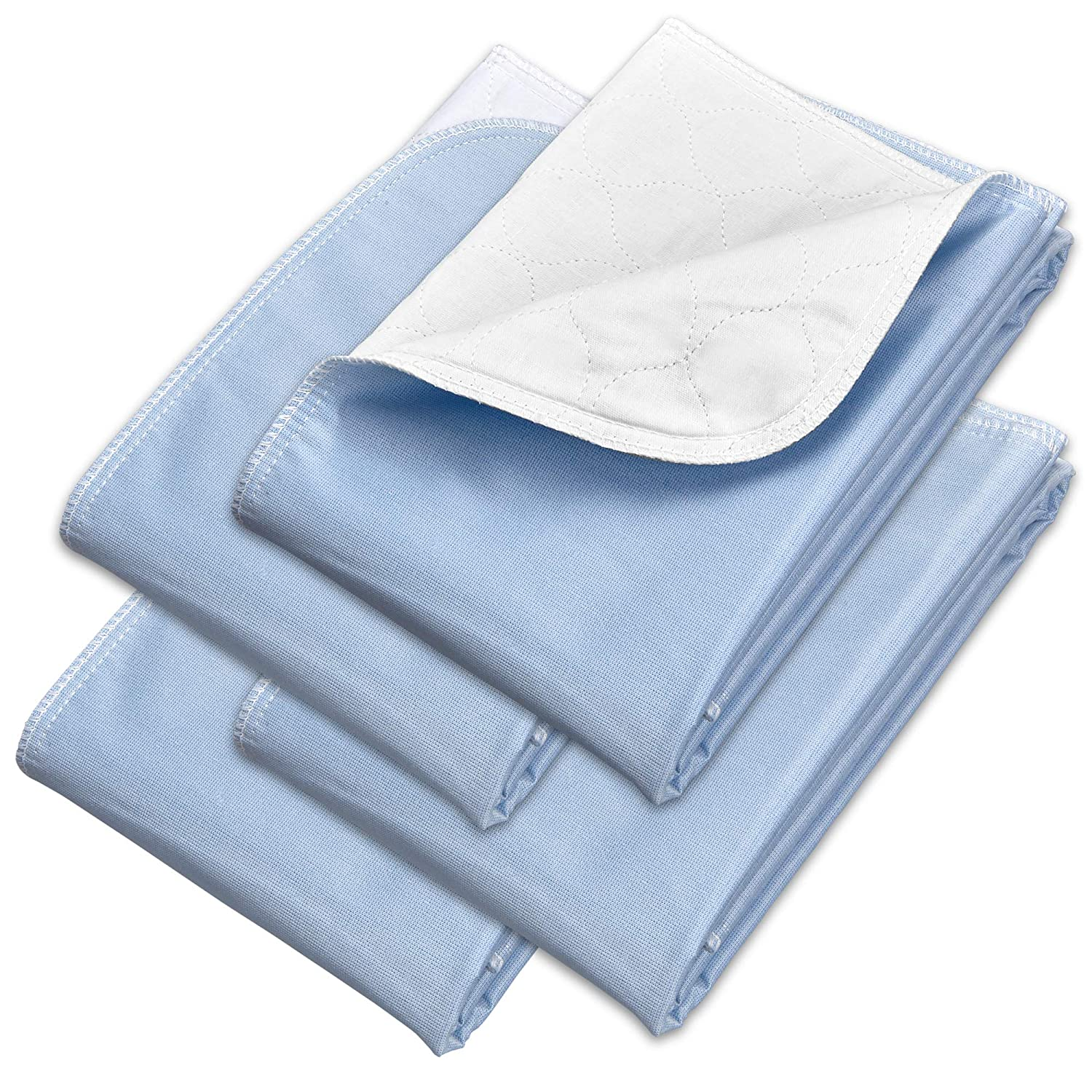 "Incontinence Chair Pads 4 Pack 18"" x 24"" - Reusable Waterproof Underpad Sofa and Mattress Protectors - Highly Absorbent, Machine Washable - for Children, Pets and Seniors- Blue - Royal Care"