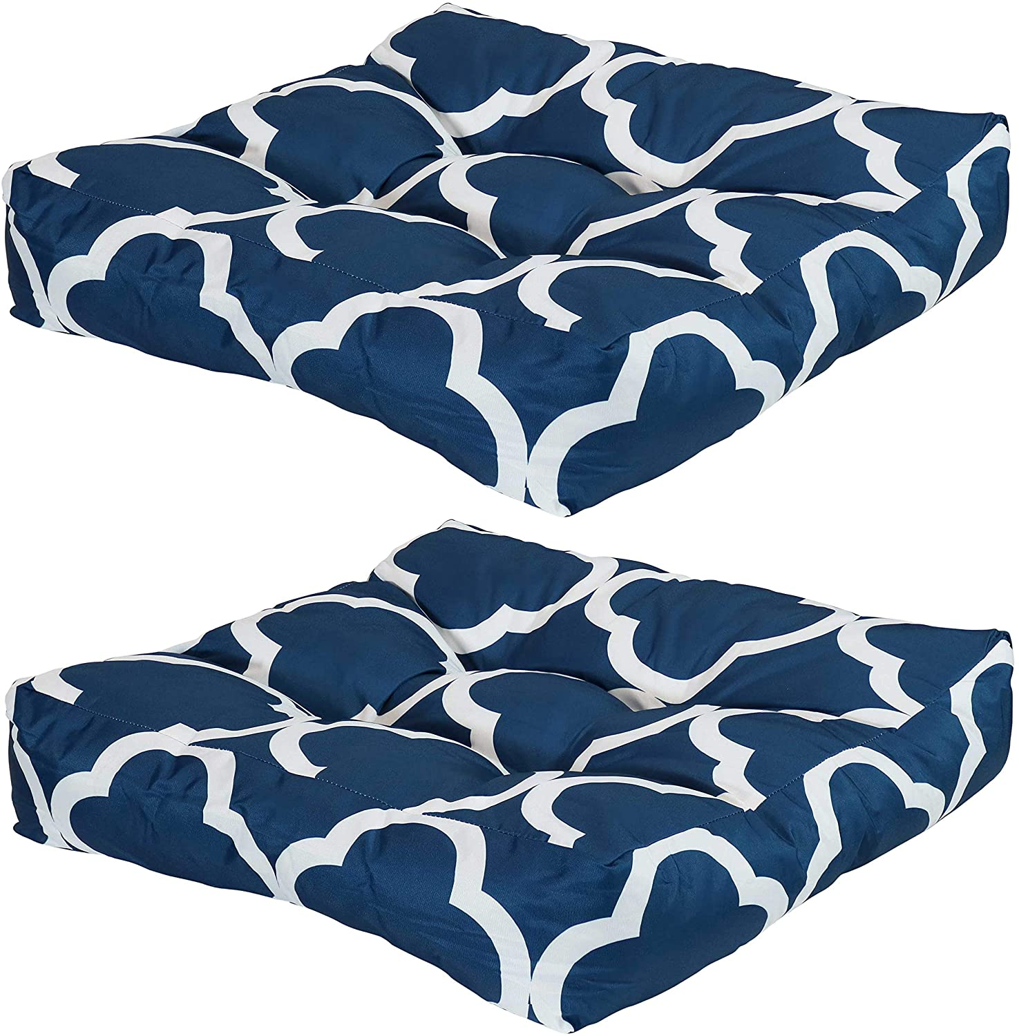 Sunnydaze Set of 2 Tufted Square Patio Cushions for Indoor/Outdoor Furniture - Replacement Cushions for Chairs and Seating - Seat Pads for Porch, Deck and Garden Seats - Navy Blue and White Quatrefoil