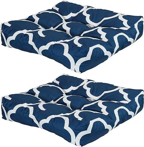 Sunnydaze Set of 2 Tufted Square Patio Cushions