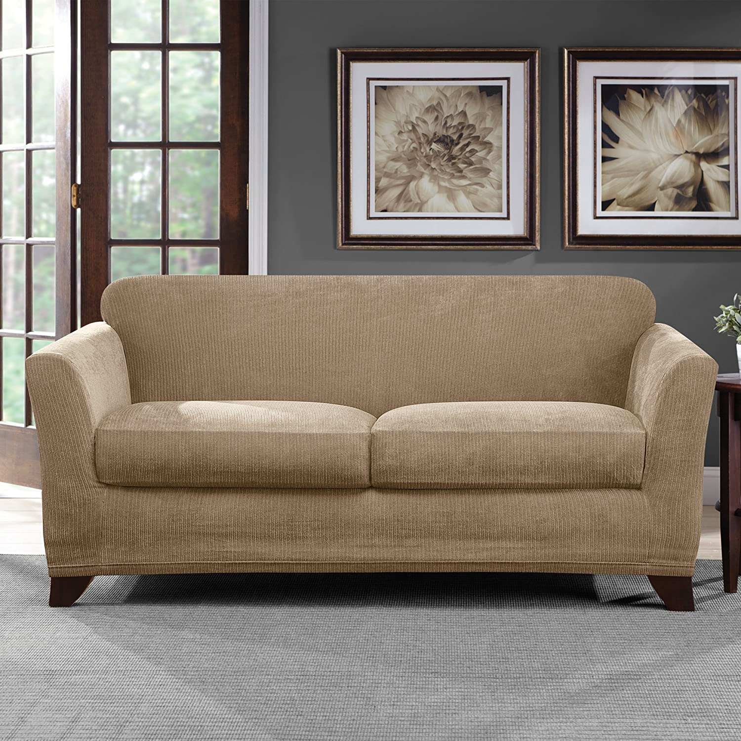 Tan SURE FIT Ultimate Stretch Chenille Loveseat Slipcover