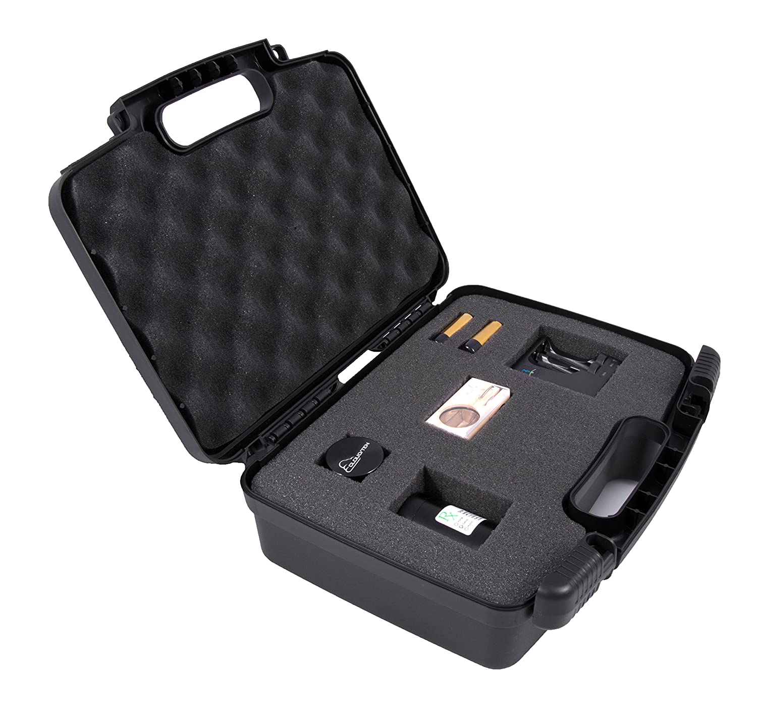 casematix discreto duro caja de funda de transporte - compatible con Magic Flight Launch Box, molinillo de acabado, bandejas, recargable, tallo, cargador, ...