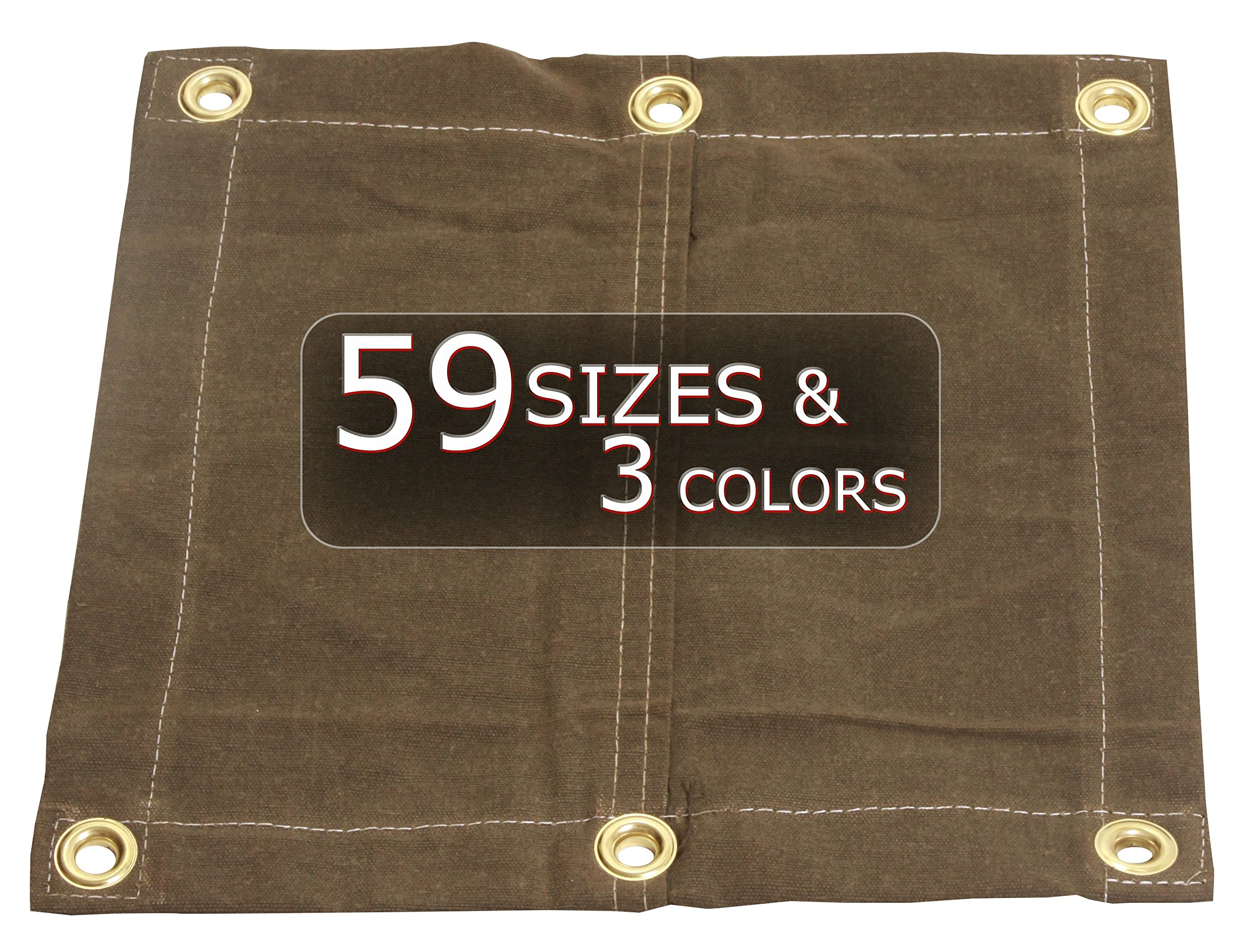 6x12 18oz Heavy Duty Canvas Tarp with Grommets - Tan- Water, Mold and Mildew Resistant by Tarp Nation