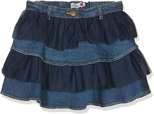 boboli Denim Ruffle Skirt For Girl Falda, Azul (Blue), 110 (Tamaño ...