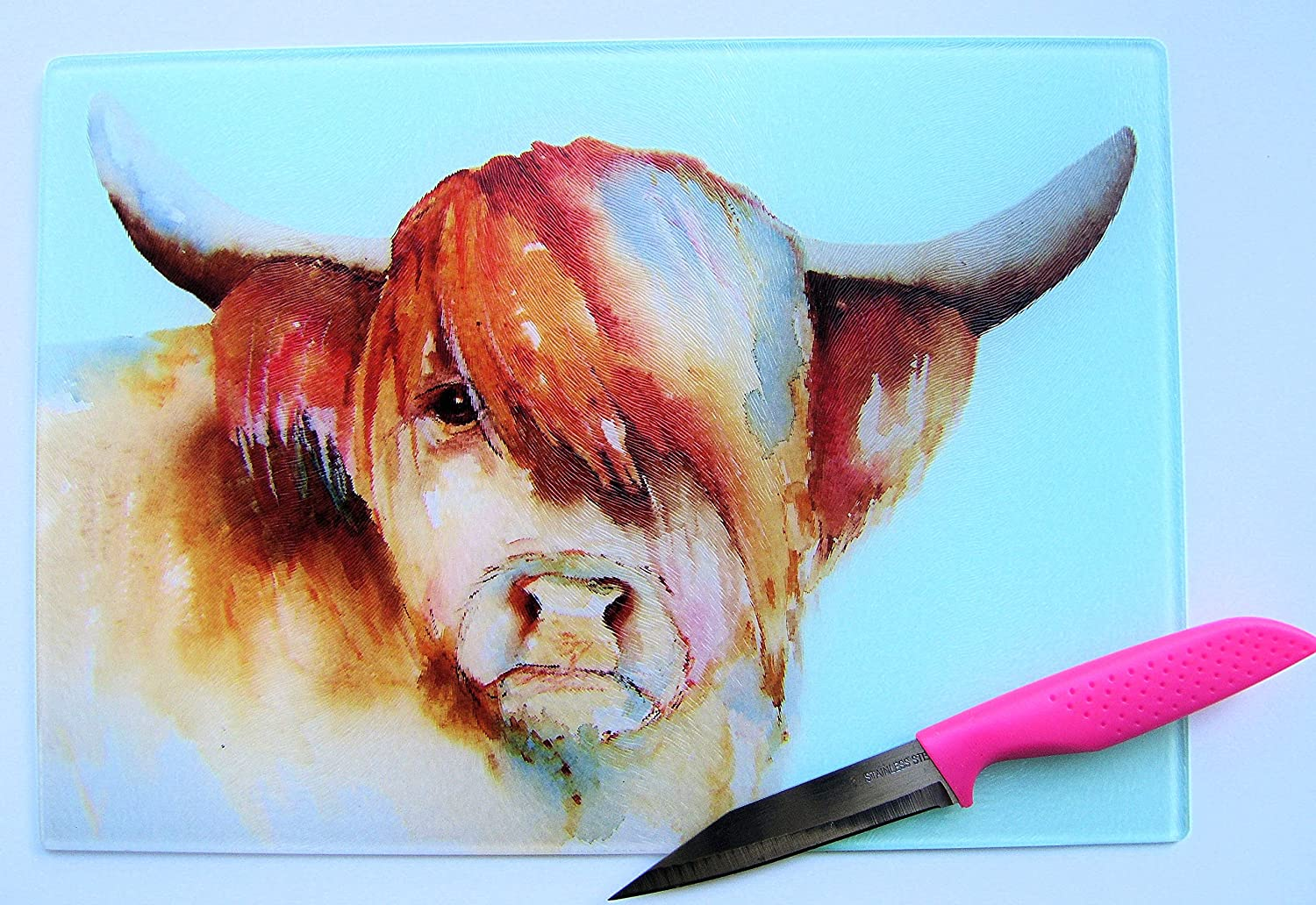 Unique Sky Blue Chopping Board with a Highland Cow Design by Maria Moss
