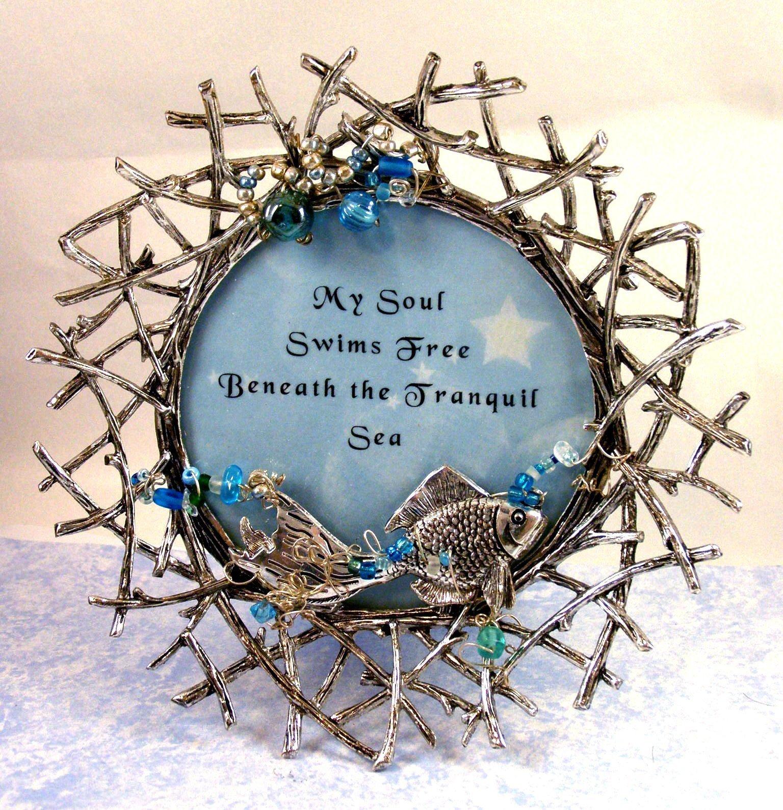 Artist Handmade Framed Beaded Inspirational FISH Verse-One of a Kind Art-Ornate Frame-''My Soul Swims Free''-Love of Ocean-Nautical