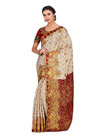 354950db09 Image Unavailable. Image not available for. Colour: MIMOSA Silk Saree With Blouse  Piece ...
